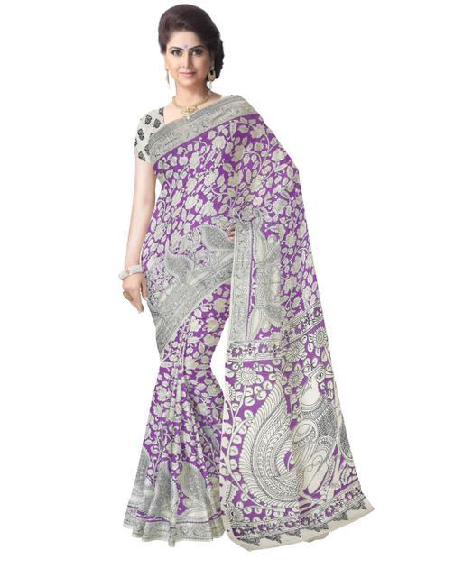 Kalamkari Saree in Cotton-Purple&White