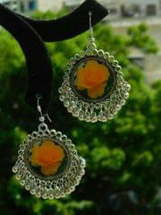 Flower Print Danglers in Oxidized Metal- Yellow Rose Pattern