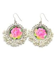 Flower Print Danglers in Oxidized Metal-Pink Rose Pattern