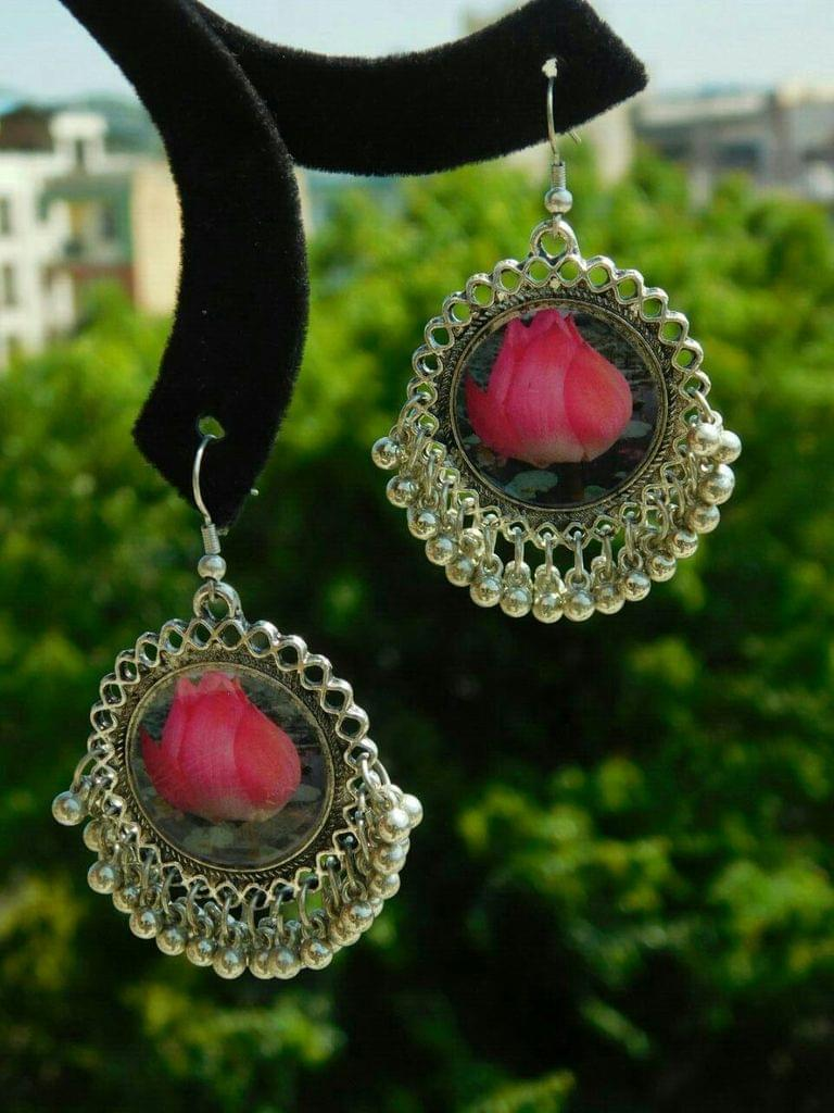 Flower Print Danglers in Oxidized Metal- Lotus Bud Pattern