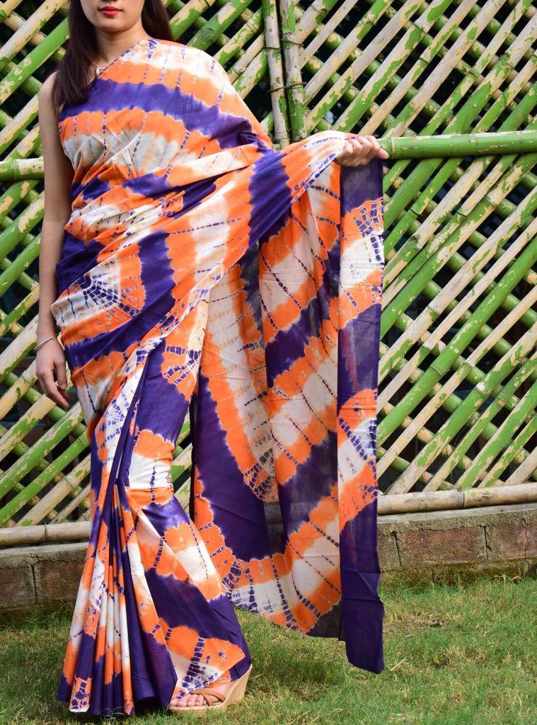 Cotton Shibori Saree-Blue&Orange