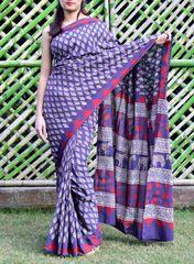 Mal Cotton Bagru Print Saree- Pattern 1