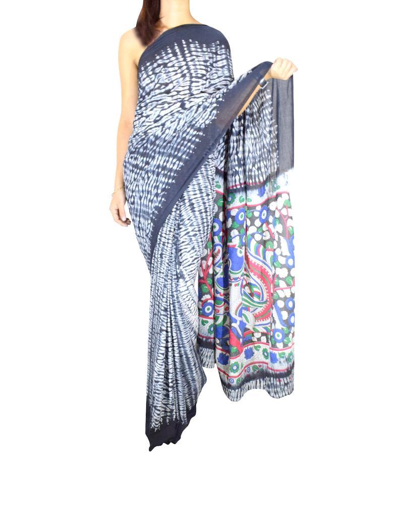 Cotton Shibori Kalamkari Saree-Black