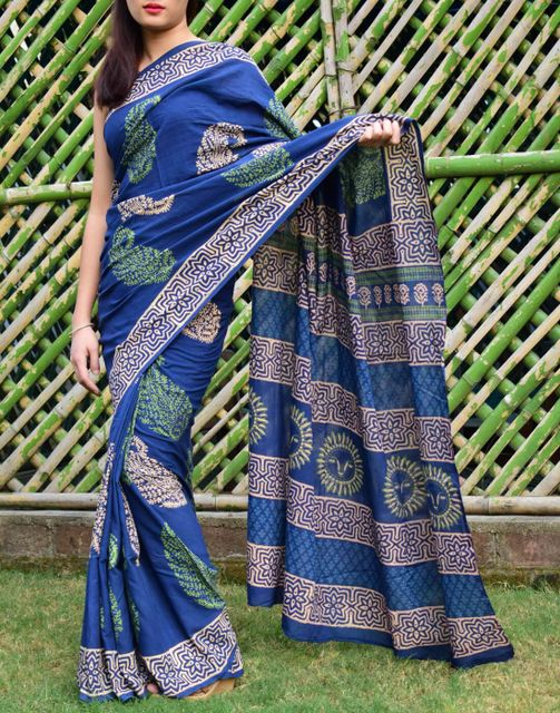 Mal Cotton Bagru & Ajrak Print Saree- Pattern 4