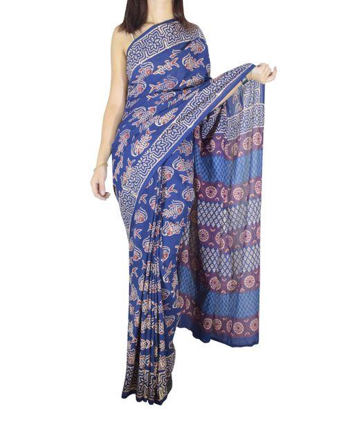 Mal Cotton Bagru & Ajrak Print Saree- Pattern 3