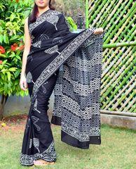 Cotton Dabu Print Mal Cotton Saree- Black