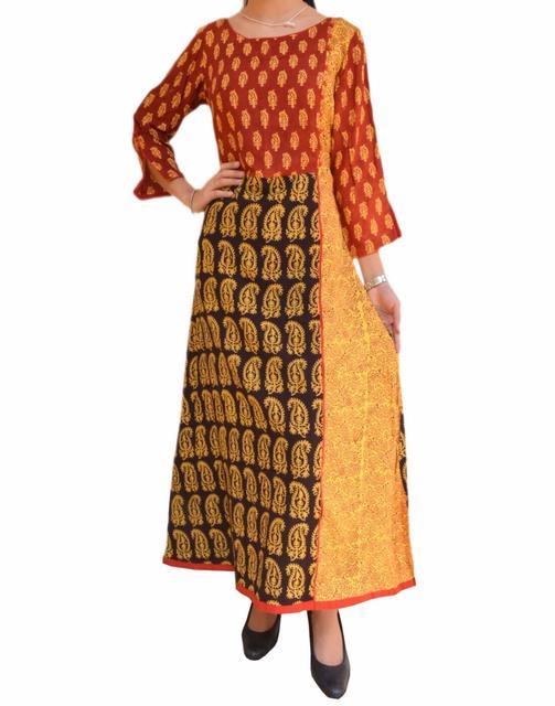Cotton Dress/Kurta with Bagh Print- Red&Yellow