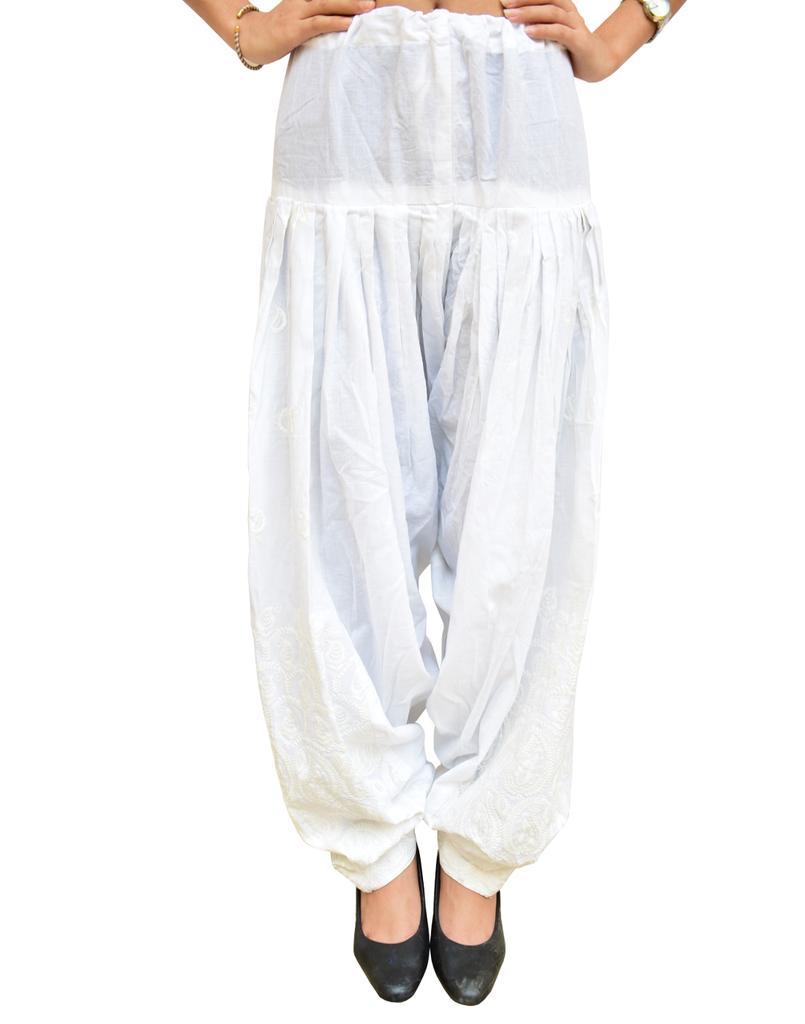Embroidered Cotton Salwar- White