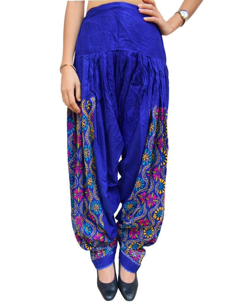 Cotton Hand Embroidered Salwar- Blue