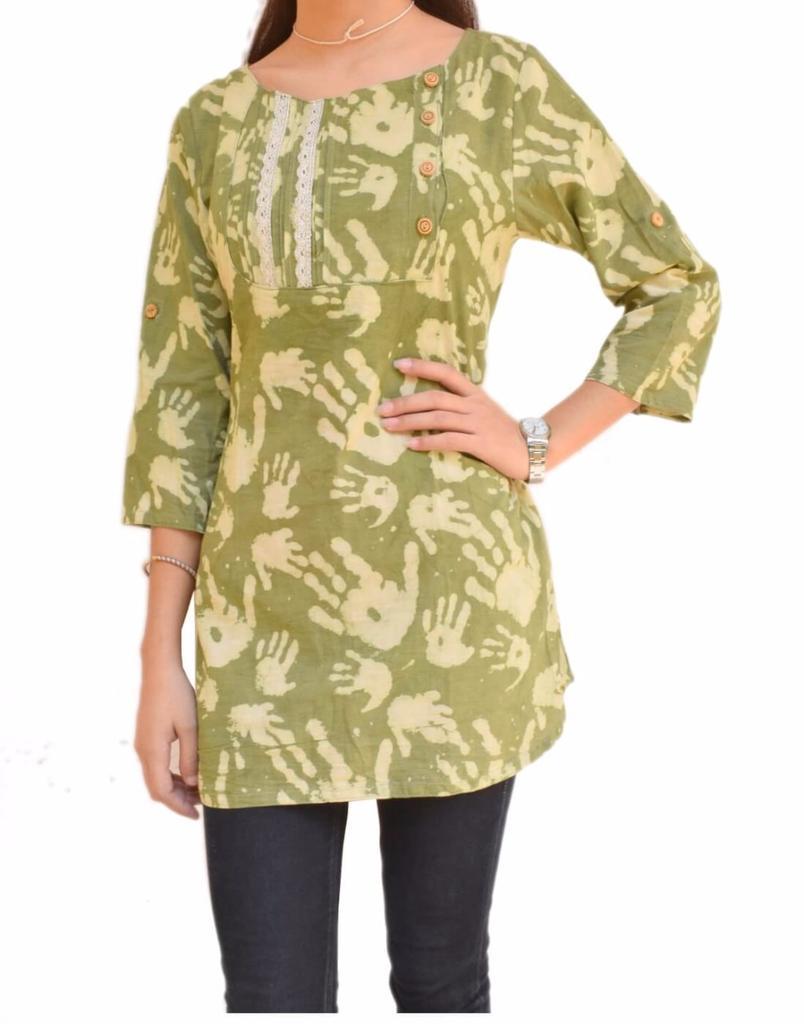 Cotton Kurti/Top with Dabu Print- Green
