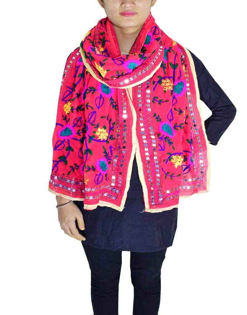 Phulkari Georgette Stole -Bean red