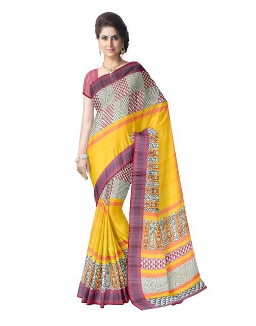 Cotton Silk Printed Saree- Mustard Yellow&Maroon