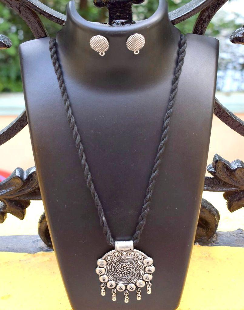 Threaded German Silver Necklace Set -Black Pattern 2