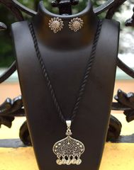 Threaded German Silver Necklace Set -Black Pattern 8
