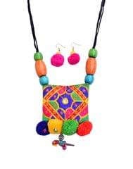 Kutchwork Necklace Set in Fabric- Pattern 3