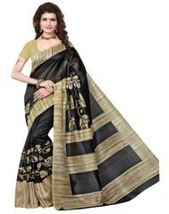 Cotton Silk Printed Saree-Black&Beige
