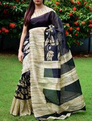 Cotton Silk Printed Saree-Black&Beige