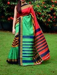Cotton Silk Printed Saree-Multicolored
