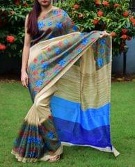 Cotton Silk Printed Saree-Multicolored-1