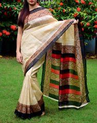 Cotton Silk Printed Saree-black&Beige-1