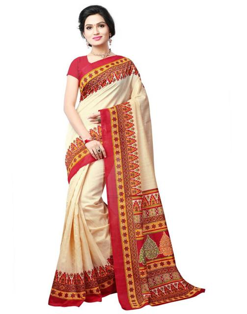 Cotton Silk Printed Saree-Red&Cream