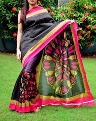 Cotton Silk Printed Saree-Black&Pink