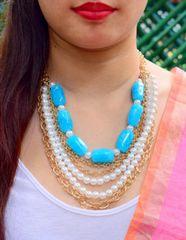 Multistrand Blue Stone &Pearl Necklace