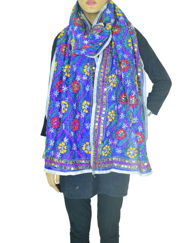 Chanderi Hand Embroidered Stole-Blue