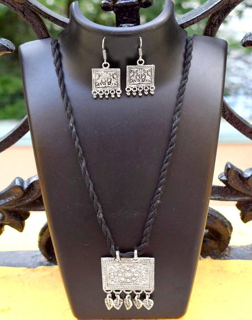 Threaded German Silver Necklace Set -Black Pattern 11