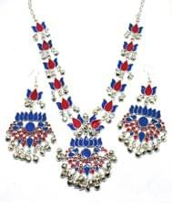 Afghani Necklace Set with Meenakari Work-Blue&Red