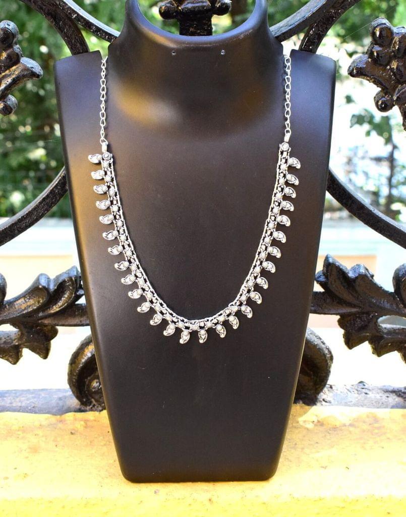 German Silver Kolhapuri Necklace- Pattern 4