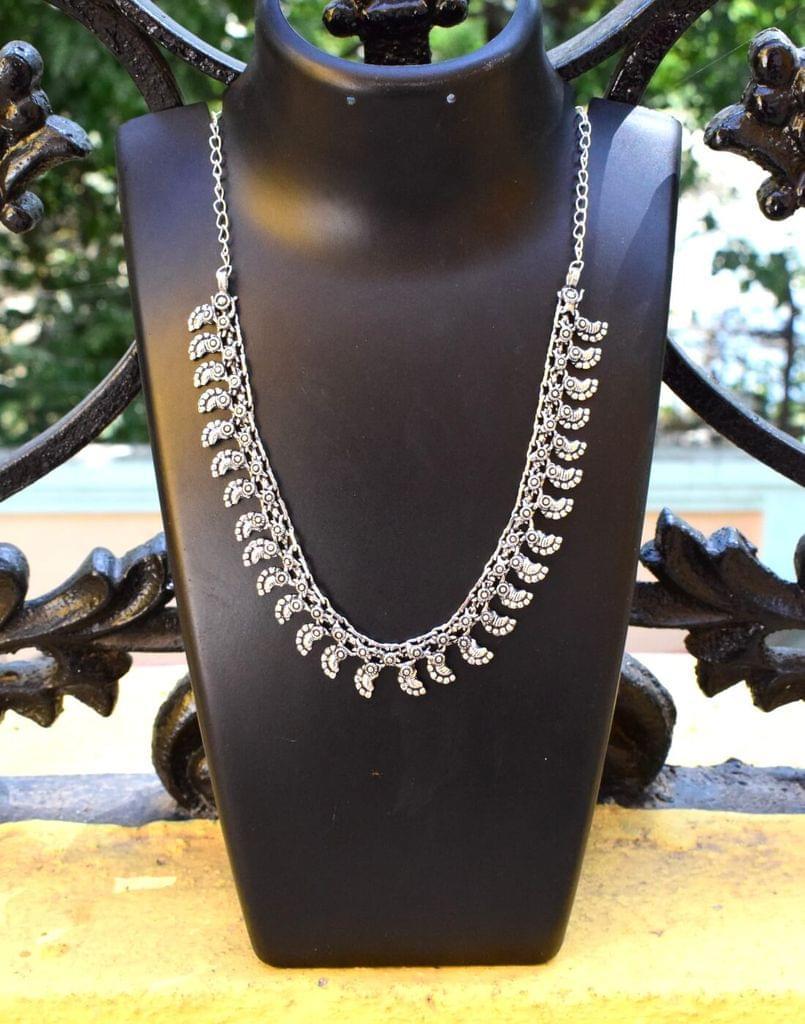 German Silver Kolhapuri Necklace- Pattern 8