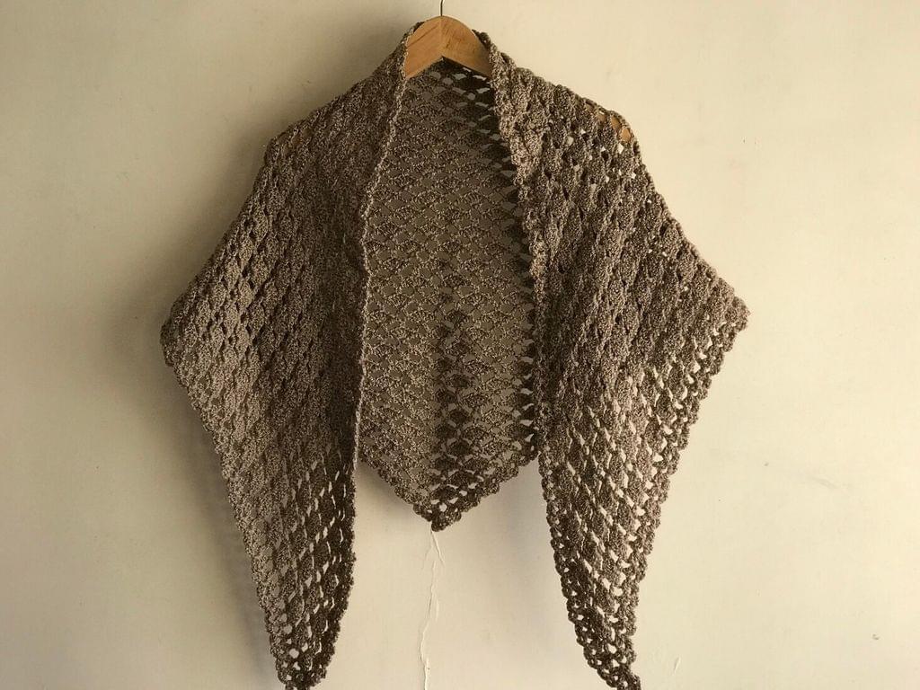 Woollen Crochet Triangular Muffler/Stole- Brown