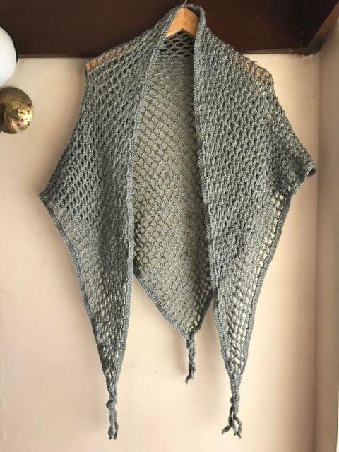 Woollen Crochet Triangular Muffler/Stole- Gray