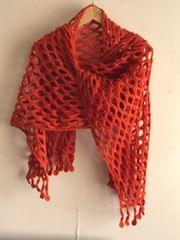 Woollen Crochet Muffler/Stole- Rust