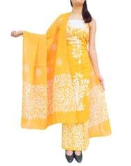 Cotton Batik Print Salwar Suit-Yellow