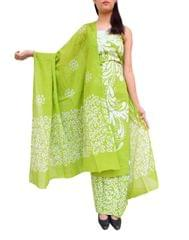 Cotton Batik Print Salwar Suit-Green