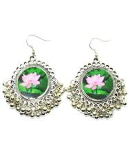 Flower Print Danglers in Oxidized Metal- Lotus Bud Pattern-1