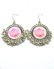 Flower Print Danglers in Oxidized Metal-Pink