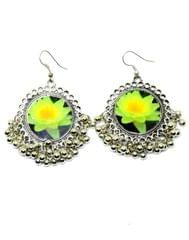 Flower Print Danglers in Oxidized Metal-Green