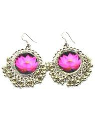 Flower Print Danglers in Oxidized Metal-Lotus pattern
