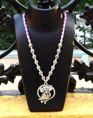 German Silver Necklace/Pendant Owl Pattern-Pink