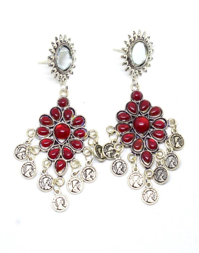 Afghani Earrings with Mirror Stud & Coin Tassels-Red