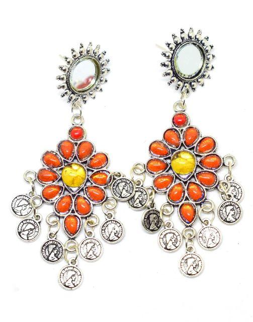 Afghani Earrings with Mirror Stud & Coin Tassels-Orange&Yellow