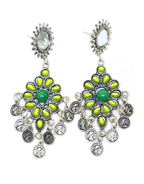 Afghani Earrings with Mirror Stud & Coin Tassels-Green