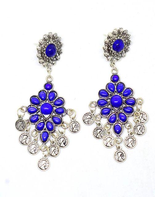 Afghani Earrings with Flower Stud & Coin Tassels-Blue