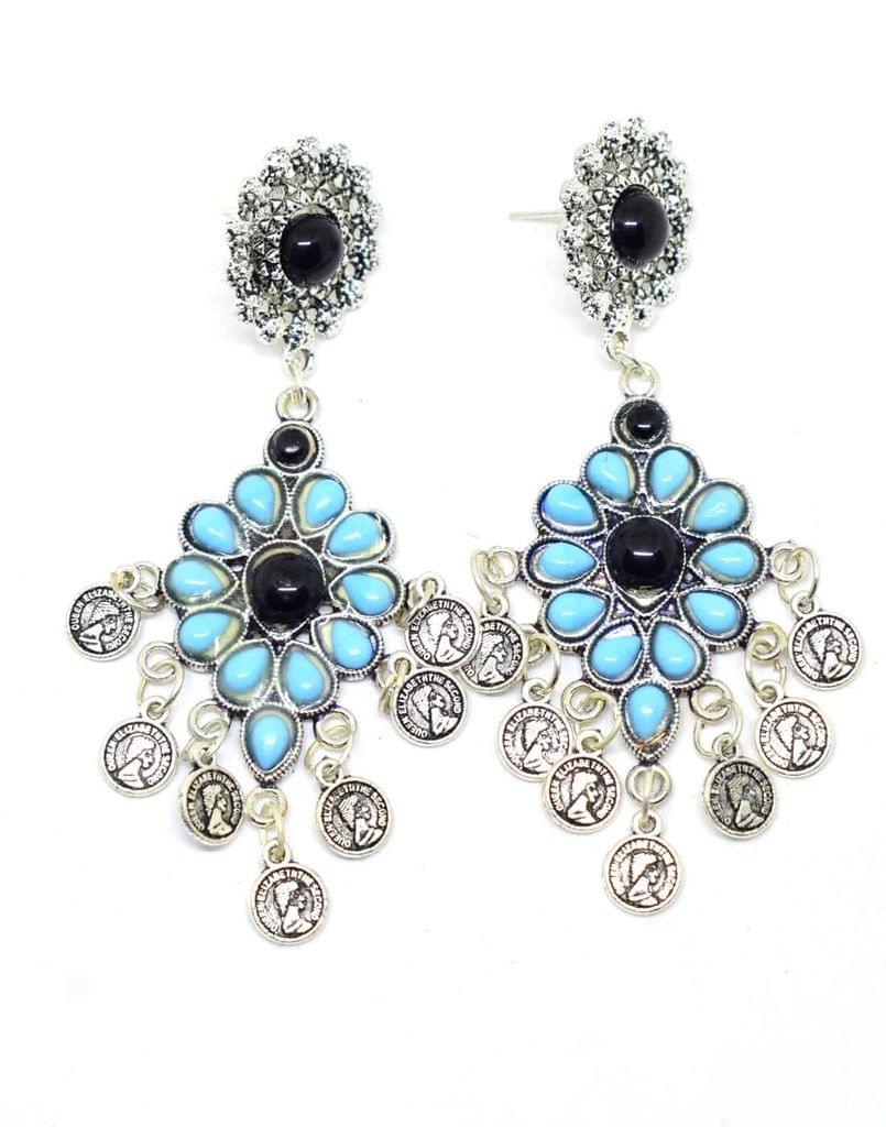 Afghani Earrings with Flower Stud & Coin Tassels-Black&Sky Blue