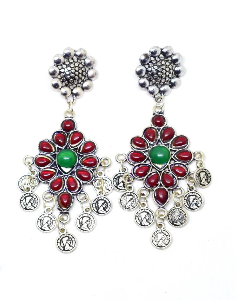 Afghani Earrings with Flower Stud & Coin Tassels-Red&Green