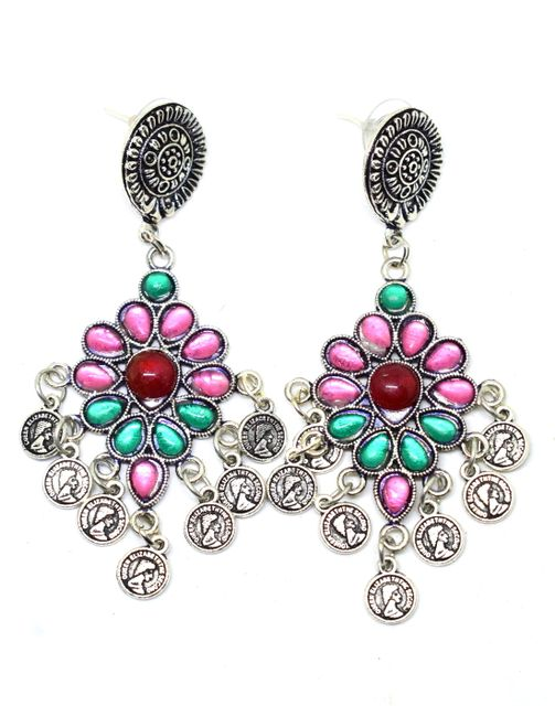 Afghani Earrings With Flower Studs & Coin Tassels-Pink&Green