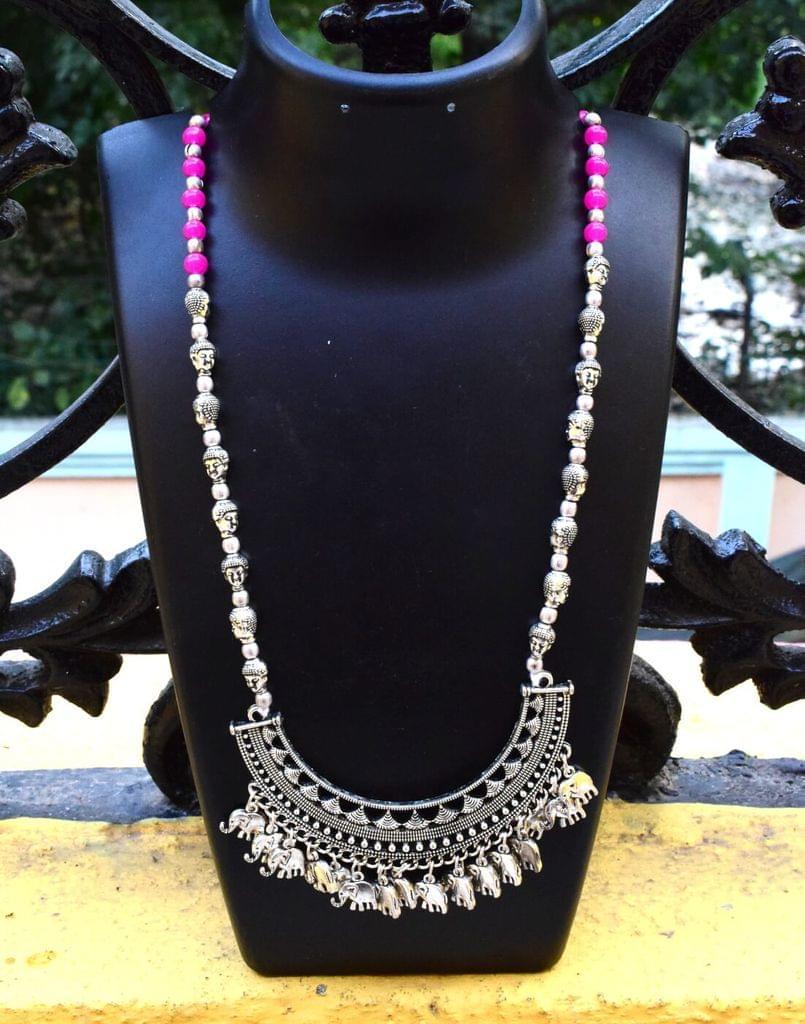German Silver Necklace/Pendant Elephant Pattern-Pink